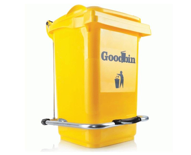مخزن زباله 100 لیتری چرخ دار و پدال دار هوم کت مدل goodbin